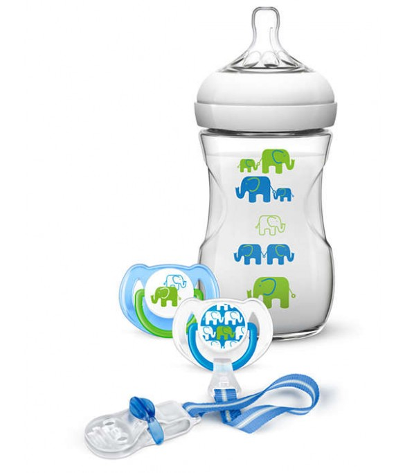 Philips AVENT  Natural 260ml Elephant Design Gift Set (SCD627/13)