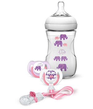 Philips AVENT Natural 260ml Elephant Design Gift Set (SCD628/13)