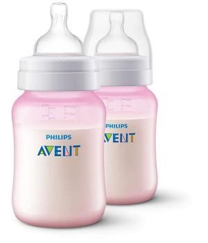 Anti-Colic Bottle PP 260ml  PK2 (Pink) - SCF814/27