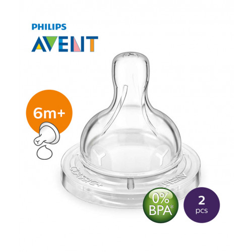 Philips AVENT Silicone Teat 6m+ Thick Feed PK2 (SCF636/27)