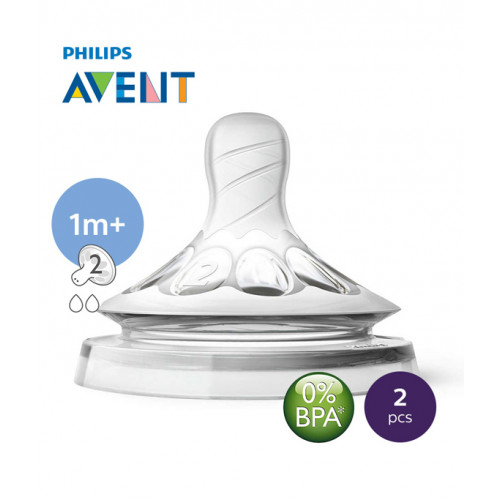 Philips AVENT Natural II Teat Slow Flow 1M+2H PK2 - SCF652/23