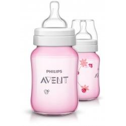 Philips AVENT Classic+ PP Deco  Bottle 260ml PK2 Pink - (SCF573/21)