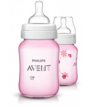 Philips AVENT Classic+ PP Deco  Bottle 260ml PK2 Pink - (SCF573/21)