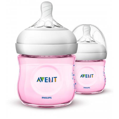 Philips AVENT Natural II PP 125ml Bottle PK2 (Pink) - (SCF691/23)